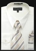SKU#KN7289 Men's Dress Shirt - PREMIUM TIE - Ivory