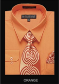 SKU#OA5432 Men's Classic Dress Shirt Orange $55