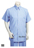 Casual Walking Suit Set (Shirt & Pants Included ) Light Blue ~ Sky Blue $89