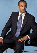 Mens Vented Non-Pleated Solid Black Suit $199