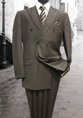 Brown Double Breasted Mens Suit with Pinstripe $159