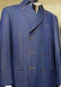 SKU#XD3892 Mens Blue 3 Piece Denim Cotton Fabric Suit