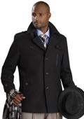 SKU#ZP9212 Mens Stylish Overcoat - Black $125