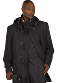 SKU#UH2002 Mens Charcoal Stylish Overcoat $125