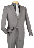 Single Breasted 2 Button Peak Lapel Pointed English Style Lapel Slim Suit Gray $185