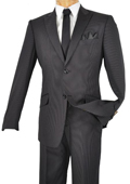 Single Breasted 2 Button Peak Lapel Pointed English Style Lapel Slim Suit Black $185