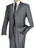 Mens Gray Single Breasted 2 Button Peak Lapel Pointed English Style Lapel Slim Suit $185