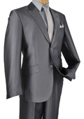 Mens Single Breasted 2 Button Peak Lapel Pointed English Style Lapel Slim Suit Charcoal $185