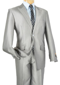 Mens Single Breasted 2 Button Peak Lapel Pointed English Style Lapel Slim Suit Silver $185