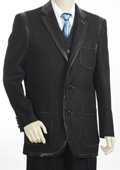 SKU#KX7921 Mens 3 Button 3PC Fashion Denim Cotton Fabric Trimmed Two Tone Blazer/Suit/Tuxedo Black $170