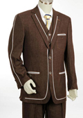 SKU#WA5545 Mens 2 Button 3PC Fashion Denim Cotton Fabric Trimmed Two Tone Blazer/Suit/Tuxedo Brown