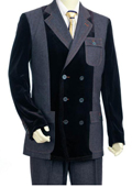 SKU#JM6009 Mens Double Breasted Fashion Denim Cotton Fabric Trimmed Two Tone Blazer/Suit/Tuxedo Grey ~ Gray With Black