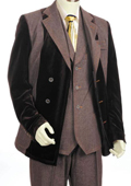 SKU#TY9222 Mens Double Breasted Fashion Denim Cotton Fabric Trimmed Two Tone Blazer/Suit/Tuxedo Black With Brown