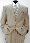 Luxeriouse High End UMO Collezion 3-Button full canvas 100% Wool Solid Tan ~ Beige premei $199