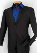 Mens Single Breasted 2 Button Herringbone Stripe ~ Pinstripe Slim Fit Suit Black