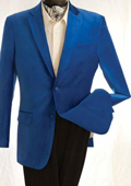 SKU#QF3843 Mens Fashion 2 Button Velvet Jacket Royal Blue