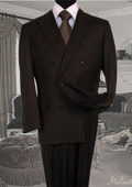 Brown Suit With Smooth Stripe Non Back Vent Close Split In Back With Pleated Pants $225
