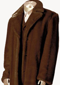 SKU#HL2432 Mens Faux Fur Full Length Coat Brown $199