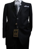 SKU#GU2325 Fitted Discounted Sale Slim Cut 2 Button Dark Navy Blue with Hidden Stripe ~ Pinstripe Men's Suit