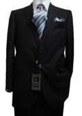 SKU#GU1113 Fitted Tailored Slim Cut 2 Button Black Hidden Stripes Men's Suit $139