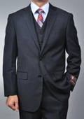 Men's Black Pinstripe 2-button Vested three piece suit $199