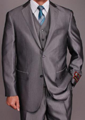Men's Grey Herringbone 2-button Vested three piece suit