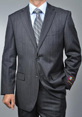 SKU#WE4410 Men's Charcoal Grey Pinstripe 2-button cheap discounted Suit