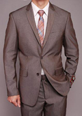 SKU#TH6869 Men's European Skinny Notch Lapel No Pleated Pants Taupe Birdseye 2-button Slim-fit Suit