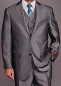 Men's Grey Herringbone 2-button Vested Suit