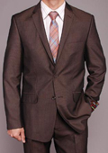 Men's Brown Micro-stripe 2-button Slim-fit Suit $149
