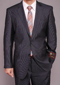 SKU#TR2323 Men's Gray Micro-Stripe ~ Pinstripe 2-button cheap discounted Suit