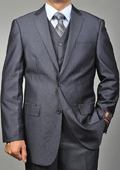 SKU#AS9588 Men's Grey Teakweave 2-button Vested Suit