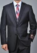 Men's Black Herringbone 2-button Suit