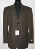 SKU OVI897 W211384 Brown Weave Pattern 3 Buttons Super 100s Wool Suit 99
