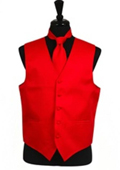 Horizontal Rib Pattern Vest Tie Set Red $29