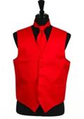 Horizontal Rib Pattern Vest Tie Set Red $29