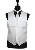 SKU#VS2788 Paisley tone on tone Vest Tie Set Ivory
