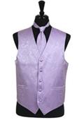 Paisley tone on tone Vest Tie Set Lavender $39