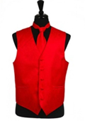 Paisley tone on tone Vest Tie Set Red $39