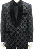 SKU#KL8303 Mens Shawl Velvet Collar Dinner Jacket + Pants (Suit) Black $189