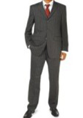 Black Pinstripe 100% Real Wool 3 buttons Mens business Suit $275