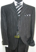Celebrity Jet Black Pinstripe Super 140's Wool premier quality italian fabric Design $199