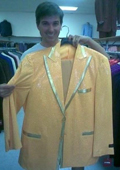 Mens Yellow-Gold Shiny Flashy Metallic Tuxedo Suit Peak Lapel $225