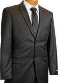 SKU#GT6501 Mens 2 Button Slim Cut Black Pinstripe Suit Black $175