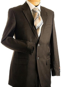 3 Button Brown Pin Stripe Mens Suit Brown $175