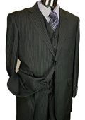 Mens Black Pinstripe 3pc 2 Button Italian Designer Suit Black $189