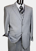 Mens Light Grey 3pc 2 Button Italian Designer Suit Light Grey
