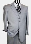 Mens Light Grey 3pc 2 Button Italian Designer Suit Light Grey $189