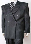 Black Pinstripe Double Breasted Super 140's Wool premier quality italian fabric Design $199