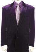 SKU#TQ8132 Mens Stylish Velvet Suit Purple $199